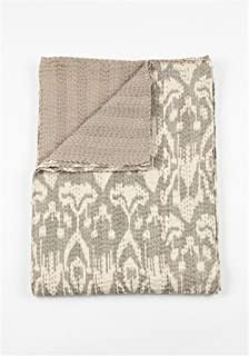 Two Pine Ikat Quilt - Grey - 2 Layer 100% Organic Cotton - Queen 90