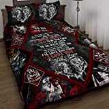 GEEMBI Quilt Bedding Set-to My Only Love. Skull Couple Quilt Bed Set THB1285QS, King Size Coverlet for All Season-Soft Microfiber Bedspread+Pillows-Quilts Gifts (King,Queen,Twin)