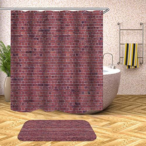 IFENGXIANYUANXIBAIHUO 3D Bad duschvorhang holzmaserung Ziegel Muster wasserdicht Bad vorhänge für badewanne Bad Abdeckung große breite 12 stücke Haken
