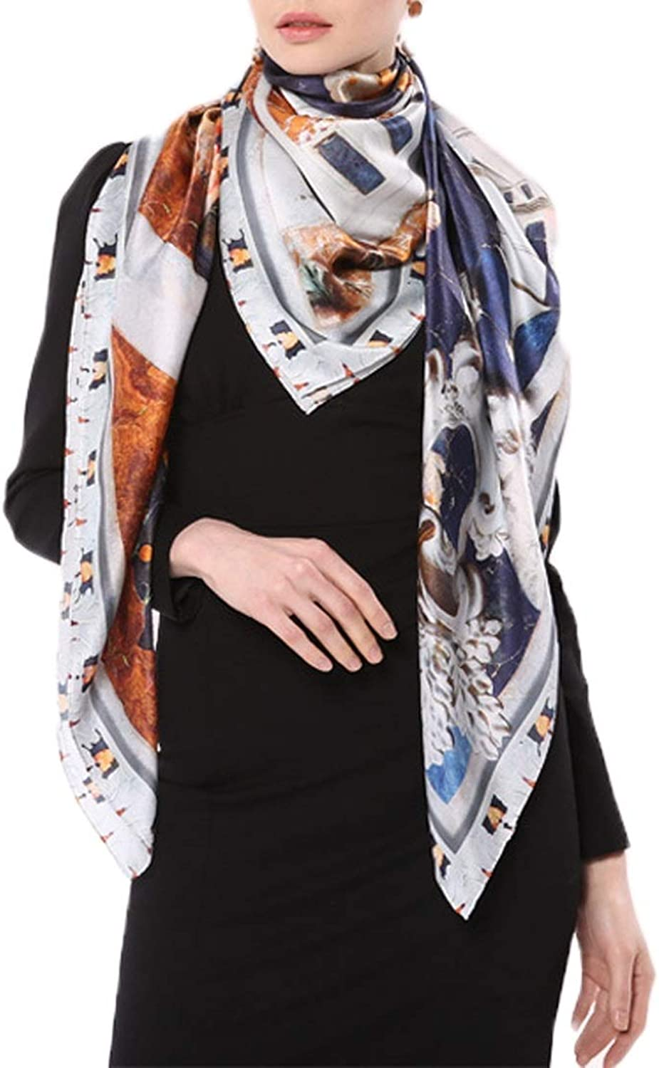 YUKILO Spring and Summer Women's Sunscreen Silk Scarf Printing Air Conditioner Shawl (color   A, Size   135x135CM)