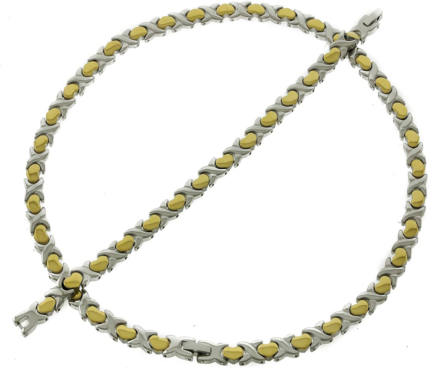 Women's 2 Tone Hugs and Kisses XOXO Necklace Bracelet Set Stainless Steel Stampato Jewelry 20 inches