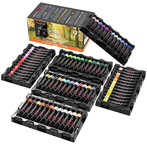 Magicfly Pinturas de Gouache, 72 Colores 12 ml/Tubo, Kit de Pinturas de Gouache para Niños Principiantes Artistas, para Pintar en Papeles de Acuarelas, Lienzos