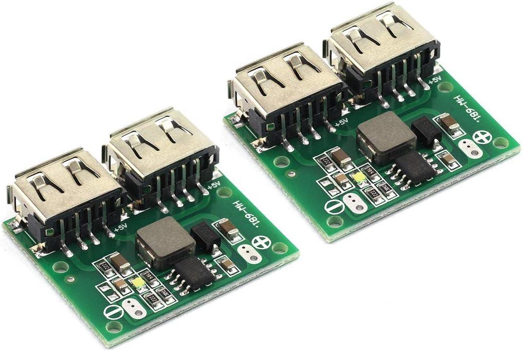 DZS Elec 2pcs Dual USB Step-Down Buck Converter 9V/12V/24V to 5V 3A DC-DC Stabilized Voltage Charging Module Power Transformer Regulator