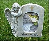 Home3010 Engel mit Fotorahmen Grabdeko Trauerengel Grabschmuck *Ruhe in Frieden* beige-antik, ca. 21
