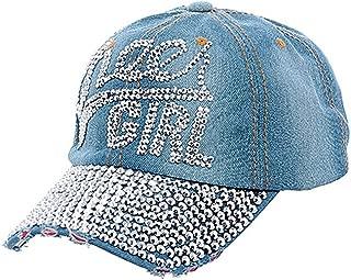 Crazy4Bling Light Denim Fashion Cheer Girl Rhinestone Faceted Crystal Studded Design Cap Hat