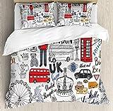 LnimioAOX Juego de Fundas nórdicas Doodle, I London London Cabina de autobús de Dos etapas, UK Crown Cabin, Big Ben, Juego de Cama Decorativo con Dos Fundas de Almohada, Twin/Twin XL Multicolor