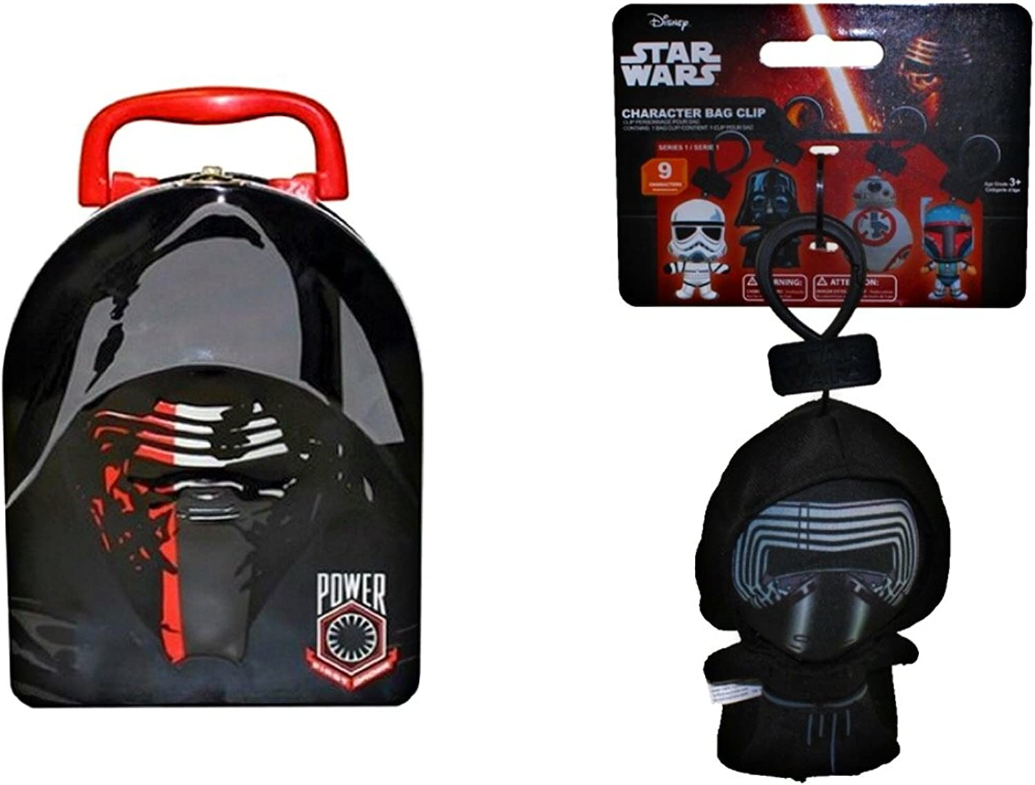 Star Wars The Force Awakens Embossed Tin Lunch Box with Plush Clip-On Bundle  (Kylo Ren)