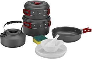 Bulin Camping Cookware Mess Kit, Nonstick Backpacking Cooking Set, Outdoor Cook Gear for Family Hiking, Picnic