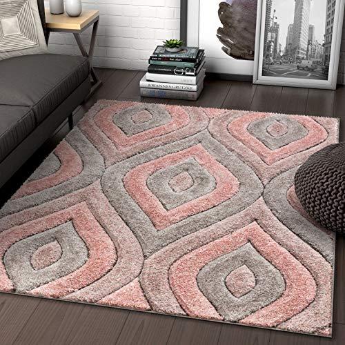 Well Woven Moira Pink Geometric Trellis Thick Soft 3D Textured Shag Area Rug 120 x 160 cm (3'11' x 5'3' ft.)