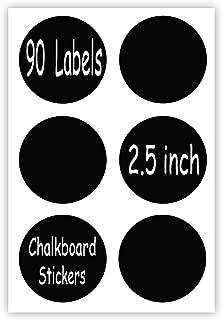 Chalkboard Labels Sticker - 90 Reusable Round Chalkboard Mason Jar Lid Canning Label, 2.5 inch Removable Waterproof Blackboard Sticker Label for Organizing, Pantry Storage Party Decoration & Craft DIY