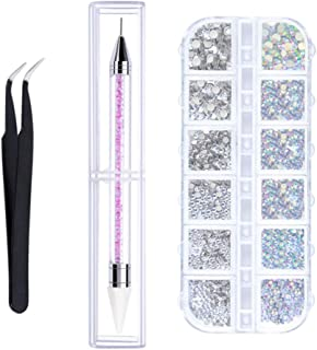 6 Sizes Nail Rhinestones Jewels with DiamondPainting Pen and Pick Up Tweezer - Embroidery, Cross Stitch, Nail Art - Cryst...