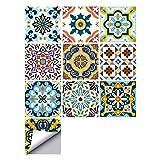 decalmile 10 Piezas Pegatinas de Azulejos 15x15cm Tradicional Adhesivo Decorativo para Azulejos Cocina Baño Decoración