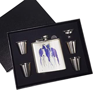 6 oz. Stainless Steel Flask Set in Black Presentation Box - Piebald Gypsy Cobs in Purple and Blue Abstract Horse Art by Denise Every