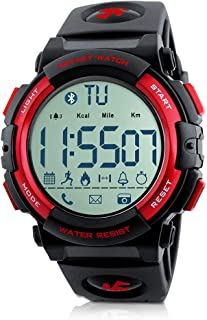 Beeasy Mens Sport Watch Waterproof Digital Wristwatches Military Smart Wrist Watches Bluetooth Fitness Tracker Watch with Pedometer Calorie Stopwatch Call SMS Reminder for Men Support iOS Android