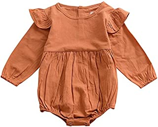 voqoomkl Infant Romper Baby Girl Twins Outfit Long Sleeve Ruffle Bodysuit
