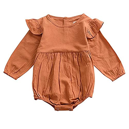 d896d31c99e voqoomkl Infant Romper Baby Girl Twins Outfit Long Sleeve Ruffle Bodysuit