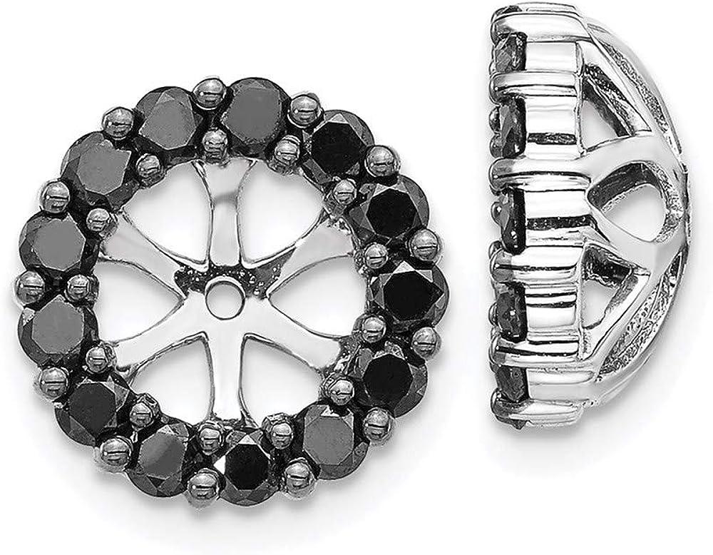 14K White Gold Black Diamond Round Earring Jackets 4.25 mm Opening for Stud Earrings (0.234Cttw)