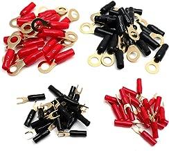 Sydien Gold-Plated 8 Gauge Ring Terminals 40Pcs& 16 Gauge Spade Terminals 40Pcs,Crimp Connection