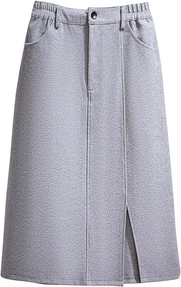 IDEALSANXUN Womens High Waist Aline Midi Wool Skirts with Side Slit