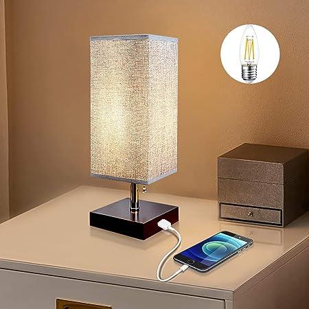 Depuley Lampe de Table avec Port USB Rechargeable, Lampe Chevet de Nuit E27 Chambre Moderne, Bois Léger et Abat-jour Carré en Tissu, Interrupteur Zip - Ampoule LED Fournie (3000K Blanc Chaud)