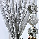 Tenda Finestre con Occhielli Voile Trasparente Motivo Foglie Tendaggio Drappo per Soggiorno Camera da Letto Salotto (Grigio, 100x200)