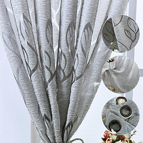 Tenda Finestre con Occhielli Voile Trasparente Motivo Foglie Tendaggio Drappo per Soggiorno Camera da Letto Salotto (Grigio, 100x250)