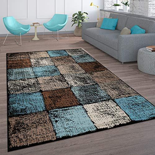 Paco Home Teppich Wohnzimmer Vintage Kurzflor Marokkanische Muster Raute Türkis Braun, Grösse:160x220 cm, Farbe:Braun