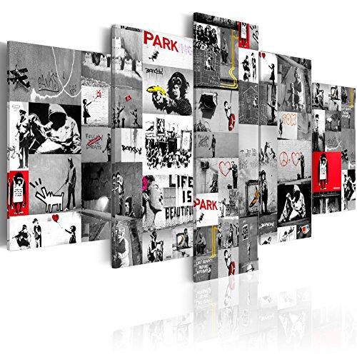 murando - Cuadro en Lienzo 200x100 cm Banksy Impresión de 5 Piezas Material Tejido no Tejido Impresión Artística Imagen Gráfica Decoracion de Pared Abstracto i-C-0092-b-p Collage