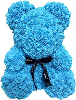 Homentum Rose Bear Teddy Forever Artificial Flowers are The Best Gifts for Valentine's Day, Anniversaries, Birthdays, Weddings (Small, Blue)