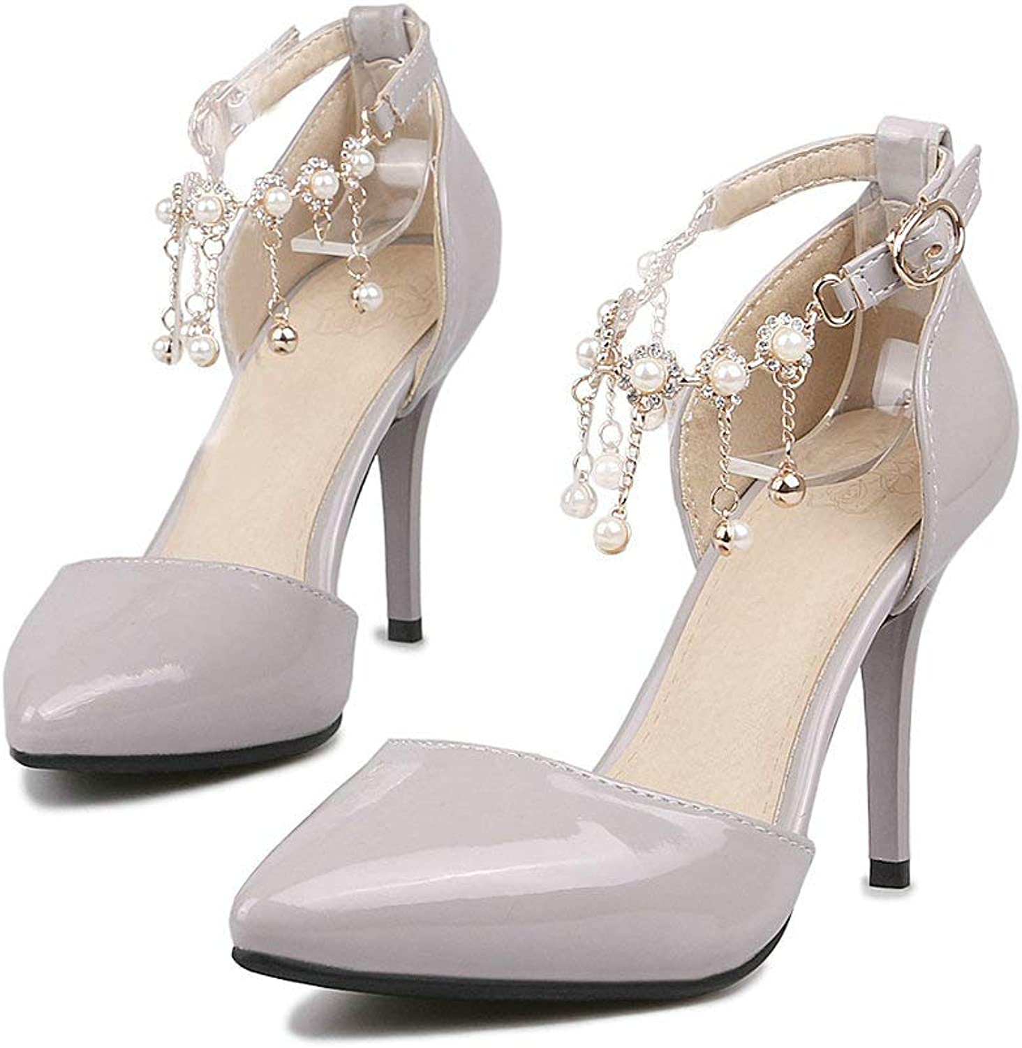 AnMengXinLing Heeled Sandals Women Ankle Strap Stiletto High Heel Closed Pointed Toe Fringe Rhinestone Leather Dress Party Wedding Bridals Pumps Red Plus Size