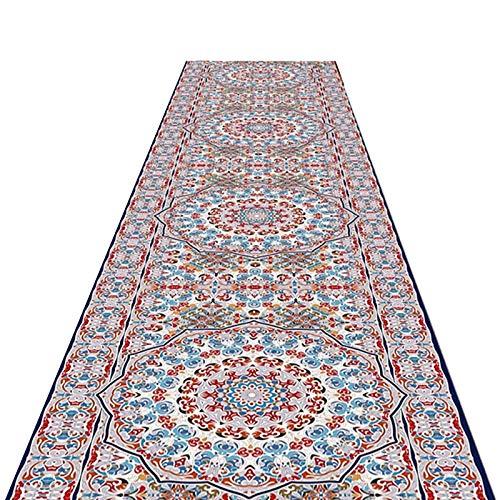 alfombra de Pasillo Rústico Corredor de Alfombras Florales, Retro Casual Alfombra con Respaldo Antideslizante, Lavable en la Lavadora Felpudo de Entrada (Size : 60×450cm(2ft×14.5ft))