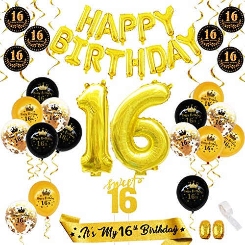 16th Birthday Decorations for Girl Boy,Black and Gold 16th Party Decorations,16th Birthday Party Supplies(41PCS)Happy Birthday Banner, Cake Topper,Foil /Latex/Confetti Number Balloons,Spiral,Sash