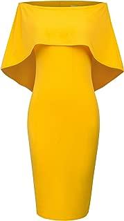 Women Off Shoulder Batwing Cape Midi Dress