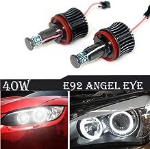 Ricoy For BMW E60 E61 E90 E92 E70 E71 E82 E89 1 3 5 Series X5 X 6 Z44-Side LED Light 40W H8 Angel Eyes Halo Ring Bulbs Error Free