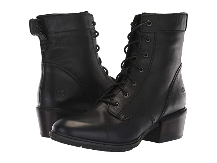1920s Style Shoes Timberland Sutherlin Bay Mid Lace Boot Black Full Grain Womens Lace-up Boots $99.95 AT vintagedancer.com
