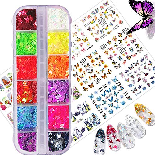 24 PCS 3D Butterfly Nail Art Glitter & Sticker Decals - Splarkly Laser Nail Sequins Flake Acrylic Manicure Paillettes Ultrathin Face Body Sticker Decals for Nail Art Decoration Supplies DIY Crafting