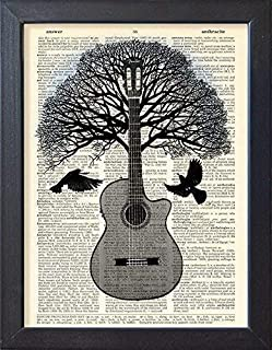 Guitar Art Poster Music Tree Black Bird Artwork, Dictionary Book Page Print