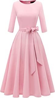 Women Prom Tea Dress Vintage Swing Cocktail Fall Dress, 3/4 Sleeves Scoop Neck