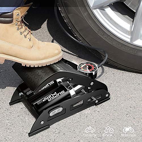 USB Fan Dubbele cilinder-voetpomp-bandenpomp met manometer, fietsbanden, motorfietsbanden, bal, luchtkussens, kajak en andere oppompapparaten, thuisreis