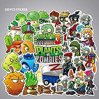 DADATU Stickers 100pcs Cartoon Stickers PVZ Plants Vs Zombies Stickers Classic Toys Children Scrapbook Diary Note Book Sticker for Kids Gift