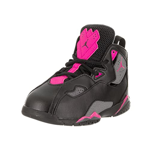 761581b11 Jordan Nike Toddlers True Flight GT Black Dark Grey Deadly Pink Basketball