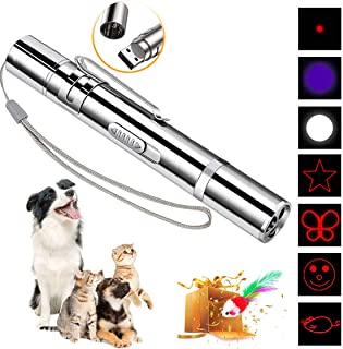 DMY Cat Toys Interactive-7 in 1 Function Chaser Toy-USB Rechargeable-Multi Pattern Funny & Mini Flashlight Interactive LED Light Entertain Training Tool for pet