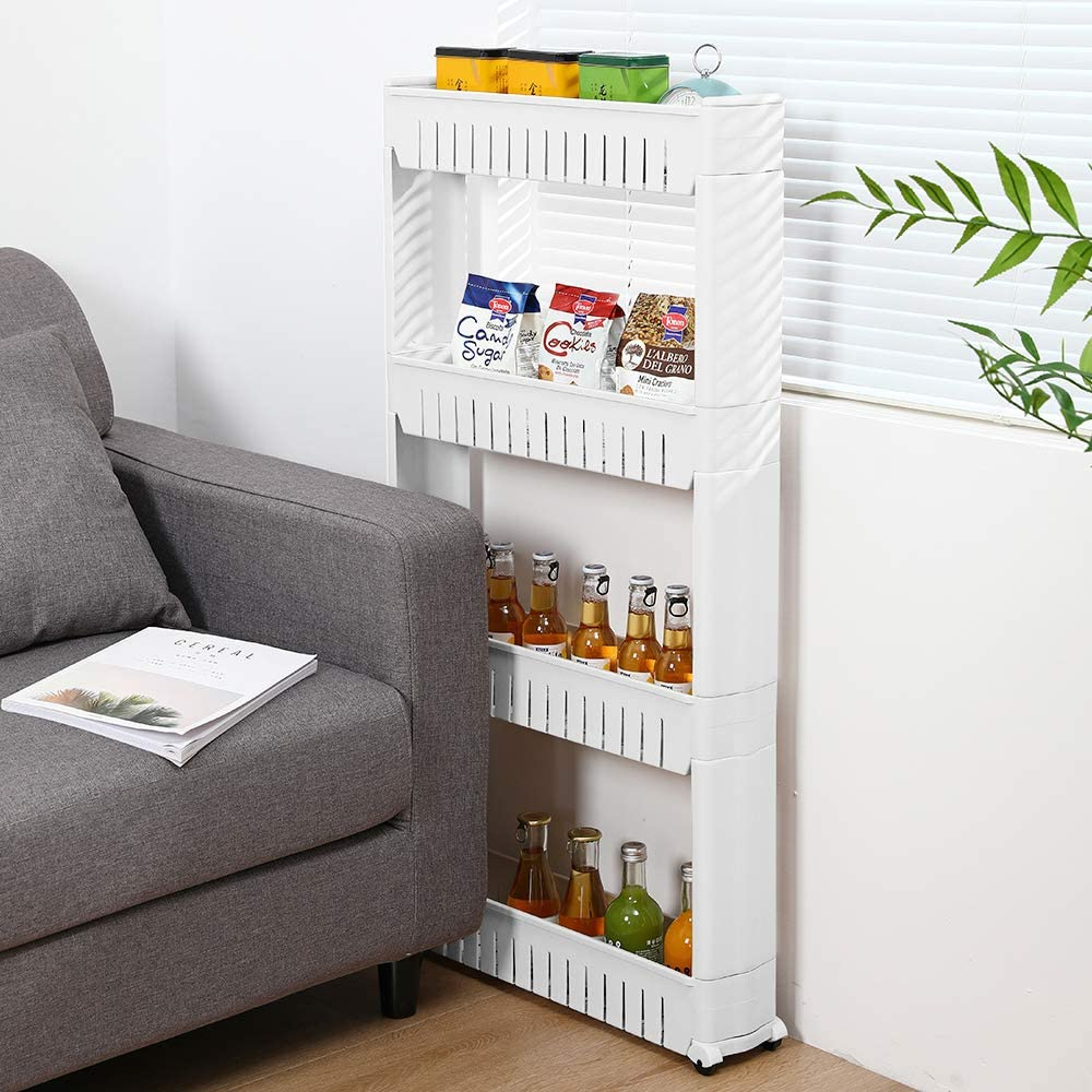 Rolling Cart Slide Out Storage Rack Organizer Wh Attention brand NEW before selling on Unit 4-Tiers