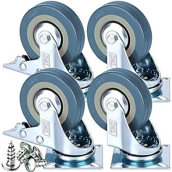 /10/mm Perno Agujero fijaci/ón/ / /Ruedas de alta resistencia ruedas de ruedas 50/mm no marca gris duro de goma ruedas /Max 100/kg por Set freno dise/ño de Bulldog/