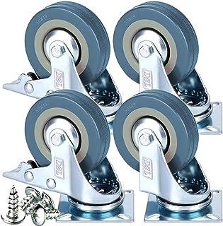 4 ruedas giratorias de goma con freno de 50 mm, 200 kg +