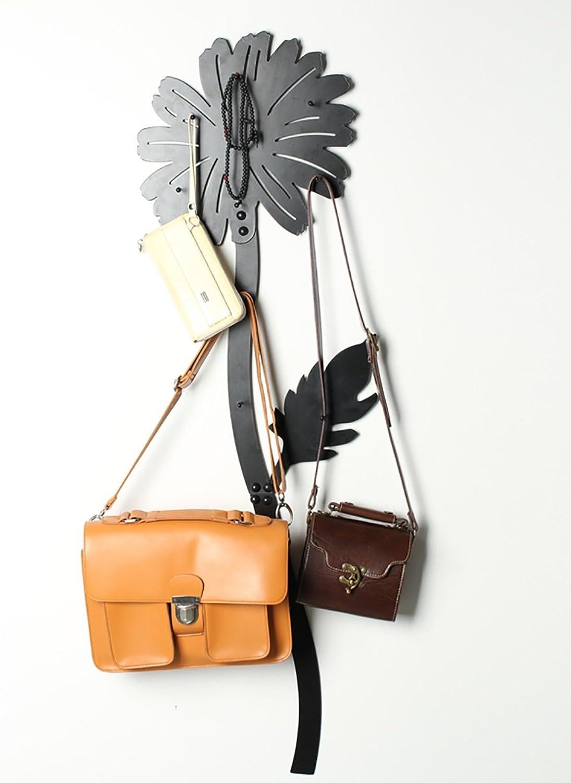KKCF Coat Hat Rack Wall-Mounted Iron Sunflower Shape, Black,120 cm Height Optional