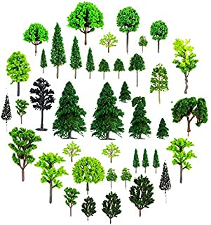 Fyess About 30pcs Mixed Model Trees 1.5-6 inch(4-16 cm), Diorama Models, Model Train Scenery, Architecture Trees, Model Railroad Scenery with No Stands