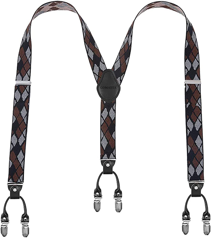 Mens Suspenders Gomatta For Men Under blast sales Y-Back free shipping Clips 6 1.38''