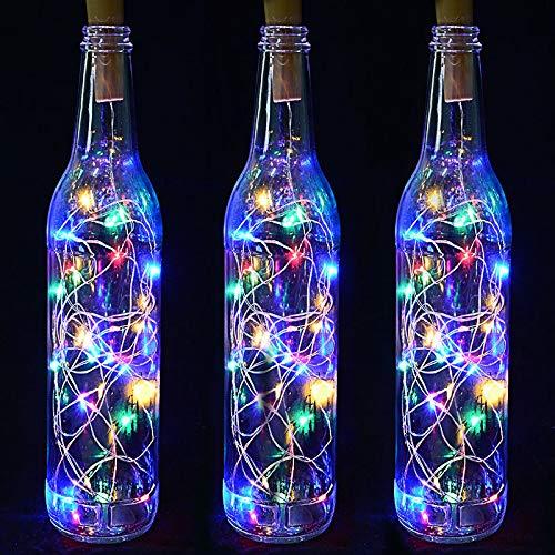 LED Kork Laterne, Bar Dekoration Wunschflasche, Kupferdraht Laterne, Weinkork Lichterkette weiß 1 Meter 10 Lichter