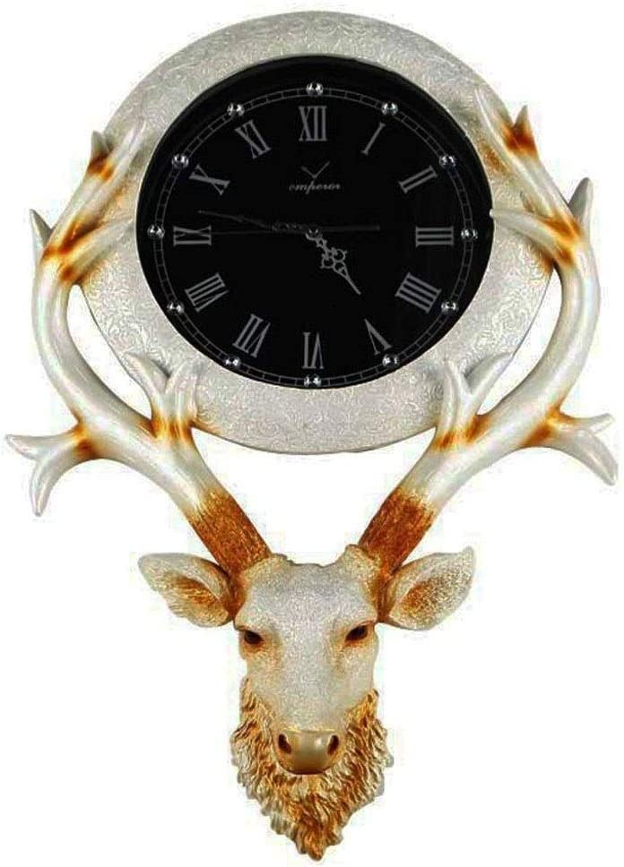 YCZDG Deer Max 70% OFF Head Wall Clock Retro Creative Personality Clo Long Beach Mall Resin